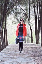 gray Exclusives skirt - red Front Row Shop blazer - black Freyrs sunglasses