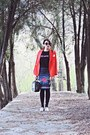 Red-front-row-shop-blazer-black-freyrs-sunglasses-gray-exclusives-skirt