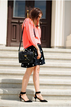 black H&M skirt - black Zara shoes - hot pink Zara sweater