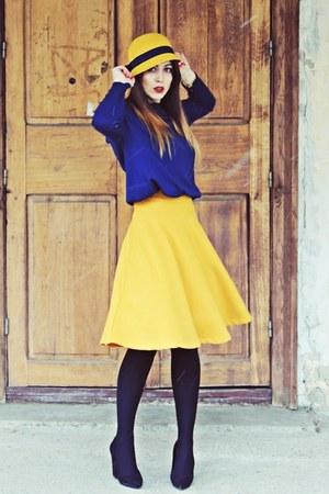 navy Zara blouse - yellow Stradivarius skirt