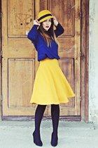 yellow Stradivarius skirt - navy Zara blouse