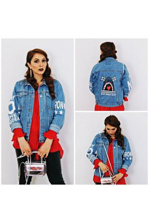blue romwe jacket - periwinkle Rena bag - red Sheinside blouse