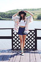 cream kimono Mart of China cardigan - black c&a hat