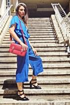 blue Stradivarius shirt - off white Stradivarius top - blue culottes H&M pants