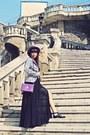 Black-mart-of-china-dress-purple-vintage-hat-black-rosewe-blazer