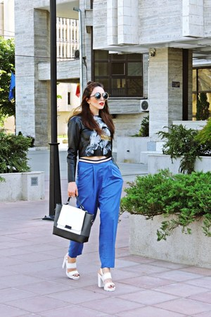 black Zara top - blue Front Row Shop pants - off white Bershka sandals
