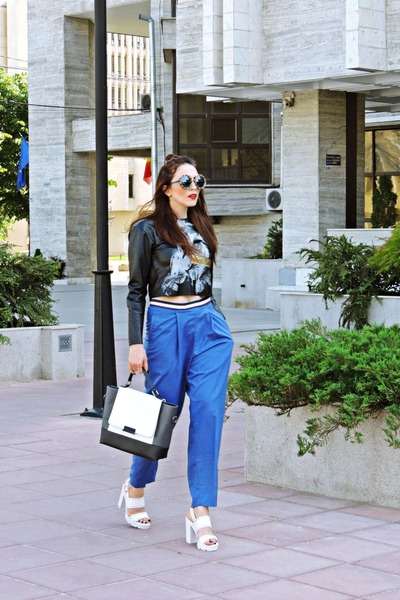 black Zara top - blue Front Row Shop pants - off white Bershka sandals