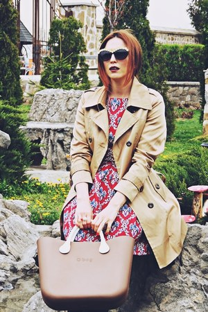 brown O-BAG bag - ruby red romwe dress - camel Wantdo coat
