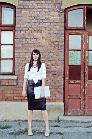 off white Zara shirt - dark brown Zara skirt