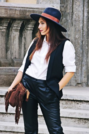 black asos shoes - navy H&M hat - off white Zara shirt - black Zara vest