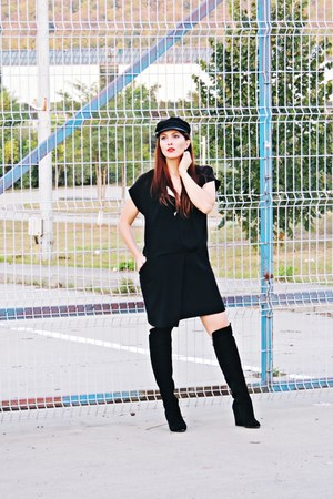 mustard Zara coat - black nissa boots - black lbd Zara dress - black Primark hat