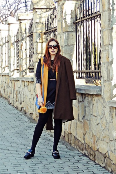 black Sheinside dress - army green pull&bear coat
