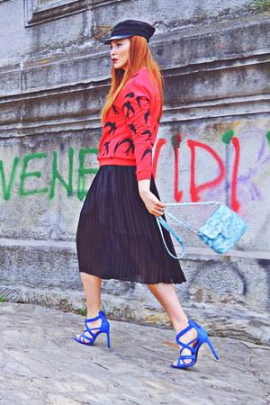 red shein blouse - blue Zara sandals
