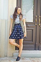 Lovelyshoes shirt - off white polka dots H&M skirt