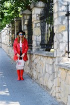 red rain boots OldCom boots - blue zaful sunglasses - red Primark cape