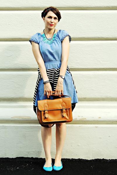 blue H&M dress - brown New Yorker bag - blue H&M flats