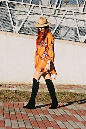 black nissa boots - shein dress - camel Front Row Shop hat