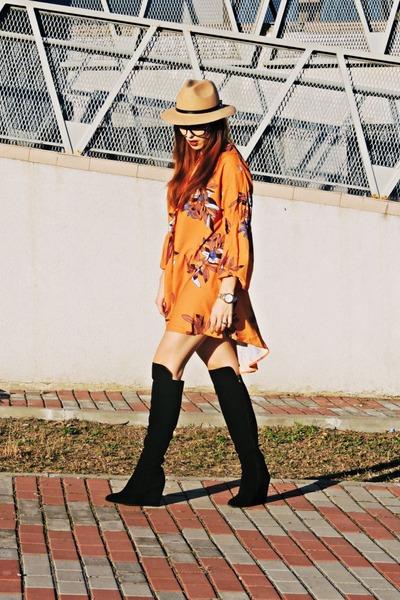 b3c45b24c1 Black Nissa Boots, Shein Dresses, Camel Front Row Shop Hats |