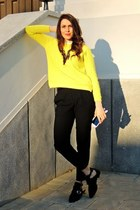 black cut out sammydress flats - yellow Lovelyshoes sweater - black Zara pants