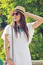 Off-white-stradivarius-dress-camel-h-m-hat-aquamarine-stradivarius-necklace