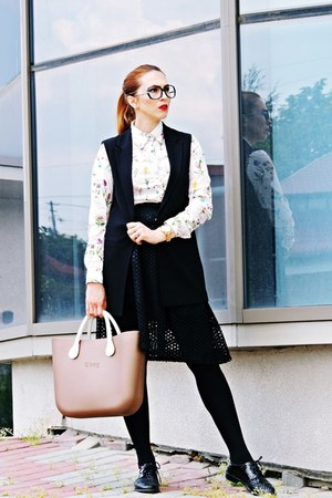 black oxfords Zara shoes - brown O-BAG bag - off white romwe blouse