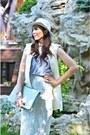 Off-white-h-m-hat-aquamarine-zara-shirt-off-white-zara-skirt