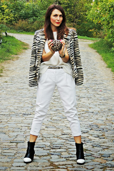 white Zara shirt - brown vintage jacket - white Zara pants