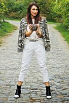 white Zara shirt - brown vintage jacket - white Zara pants