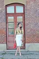 brown Mart of China shirt - off white Zara skirt