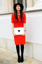 black H&M shoes - red Zara dress - black Front Row Shop hat