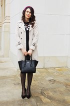 black pull&bear shoes - black OASAP dress - cream Zara coat