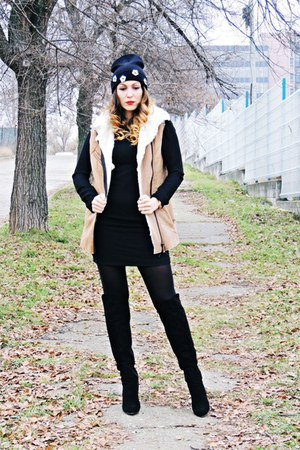 brown faux fur rosewe vest - black nissa boots - black Zara dress
