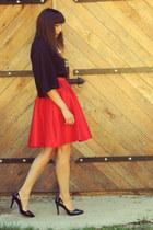black milanoo shoes - black Front Row Shop blouse - red Sheinside skirt
