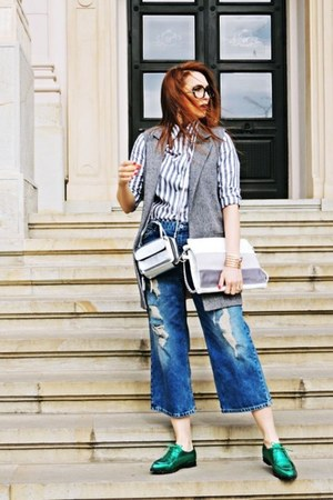 silver Rena bag - blue pull&bear jeans - periwinkle shein shirt