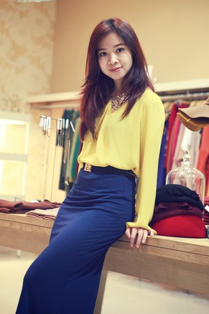 light yellow top - blue skirt