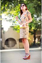 beige Nava blouse - tan printed Nava skirt