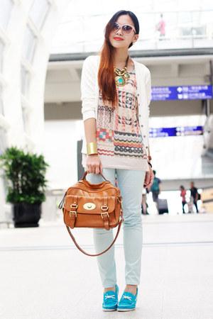burnt orange leather Hong Kong bag - beige aztec print Zara top