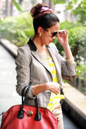 red bold Hong Kong bag - heather gray striped Hong Kong blazer