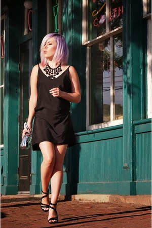 black Mango dress - silver Aldo bag - black Sassy Jones Boutique necklace
