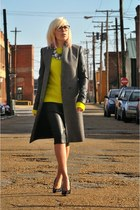 dark gray Zara coat - yellow H&M sweater - silver Sassy Jones Boutique necklace