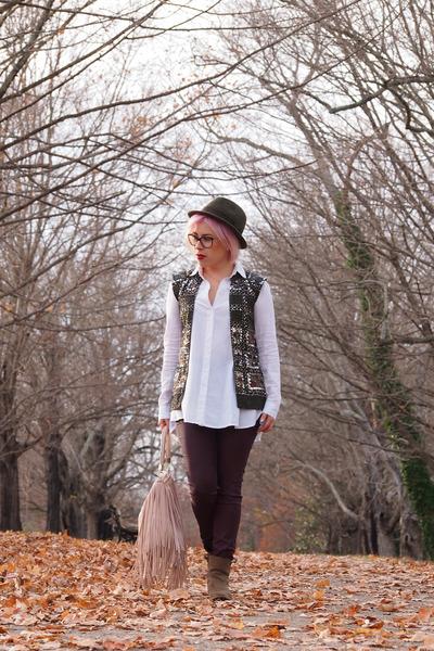 magenta H&M jeans - brown Mango boots - army green Zara hat - light pink H&M bag