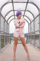 light pink Adidas shorts - light pink Adidas sweatshirt