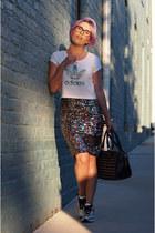 hot pink H&M skirt - white Adidas shirt - black Topshop bag