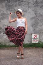 pink H&M skirt - white Jcrew hat - ivory H&M top - light pink Jcrew bracelet