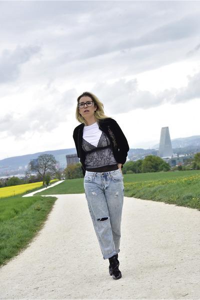 Zara shoes - Topshop jeans - velvet Topshop jacket - Zara t-shirt