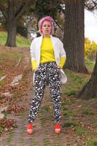 white Zara coat - yellow H&M sweater - black Zara pants