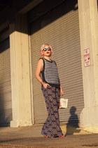 deep purple Anthropologie pants - white kate spade bag