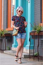navy Anthropologie shirt - chartreuse kate spade bag - sky blue Topshop shorts