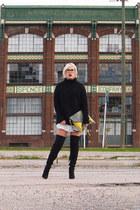 black Topshop boots - black H&M sweater - lime green María Patrona bag