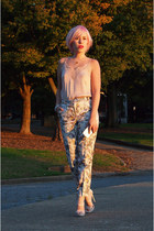 light pink H&M top - pink H&M pants - gold Brittanny Chanel Jewels necklace